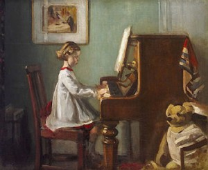 Sir-William-Orpen-The-artist's-daughter-playing-the-piano
