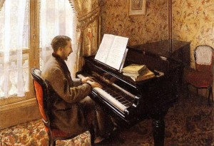 Young man Playing the piano 1876 Gustave Caillebotte