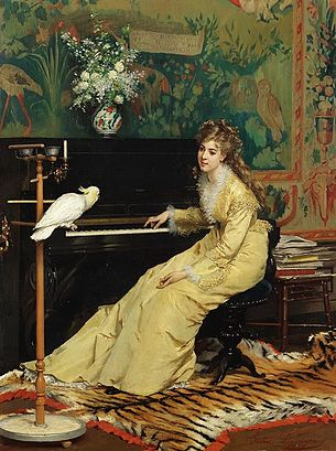 Gustave_Léonard_de_Jonghe_-_Woman_at_the_Piano_with_Cockatoo